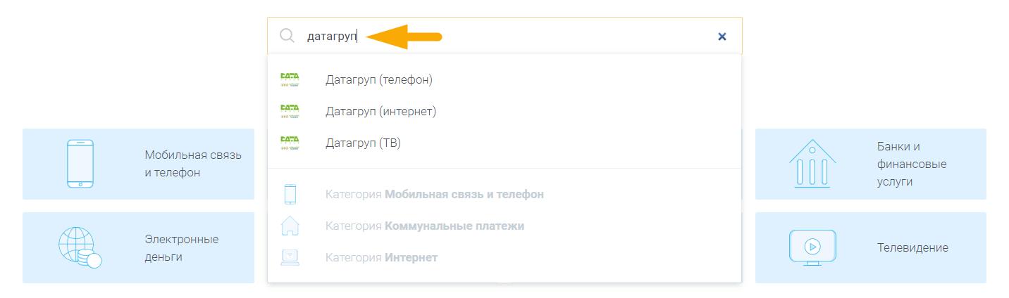 Как оплатить интернет Датагруп (DataGroup) - шаг 2