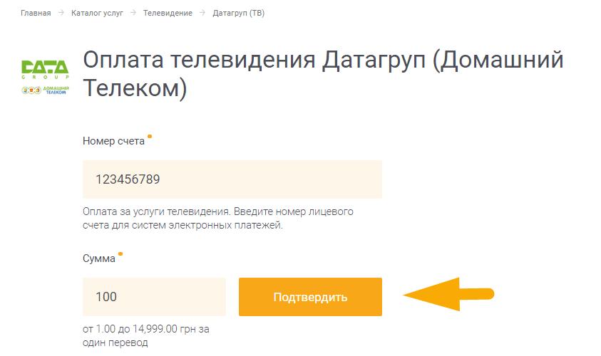 Как оплатить интернет Датагруп (DataGroup) - шаг 3