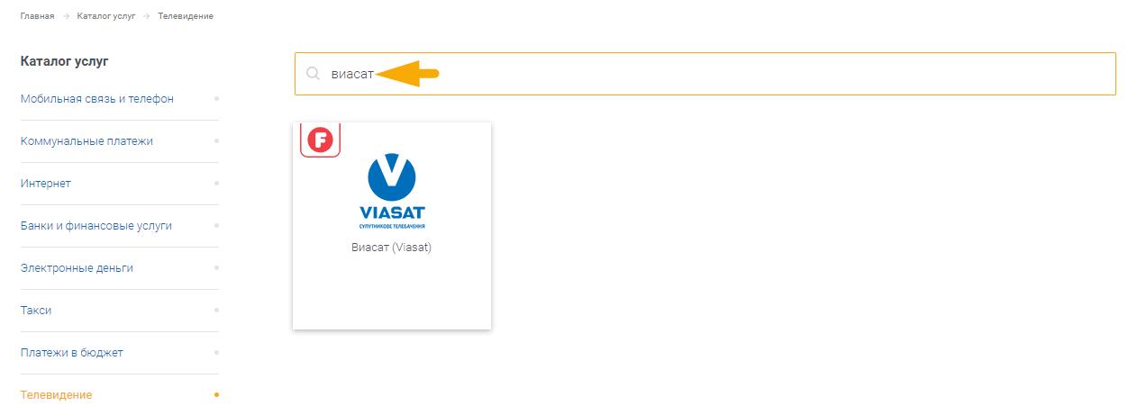 Как оплатить телевидение Виасат (Viasat) - шаг 2.2